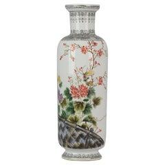 20th Century PRoC 1960-1970 Chinese Porcelain Vase Figures Famille Rose Garden