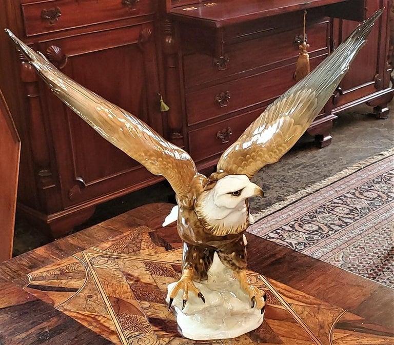 Black Forest 20C Selb German Porcelain Bald Eagle Sculpture For Sale