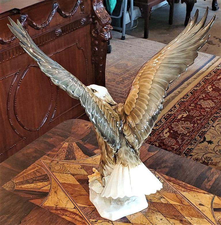 Hand-Painted 20C Selb German Porcelain Bald Eagle Sculpture For Sale
