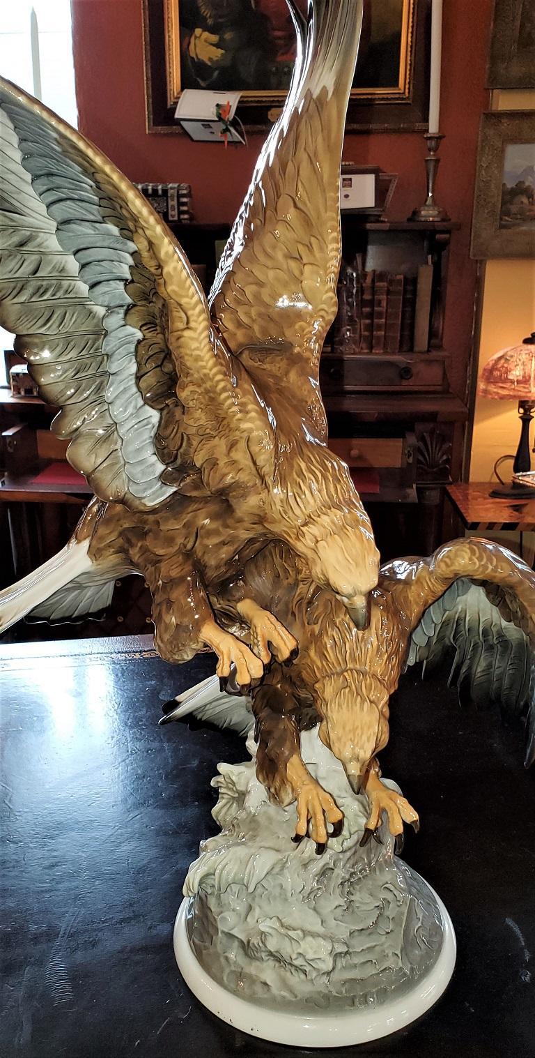 20C Selb German Porcelain Pair of Golden Eagles Sculpture For Sale 4