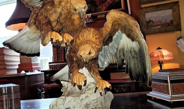20C Selb German Porcelain Pair of Golden Eagles Sculpture For Sale 5
