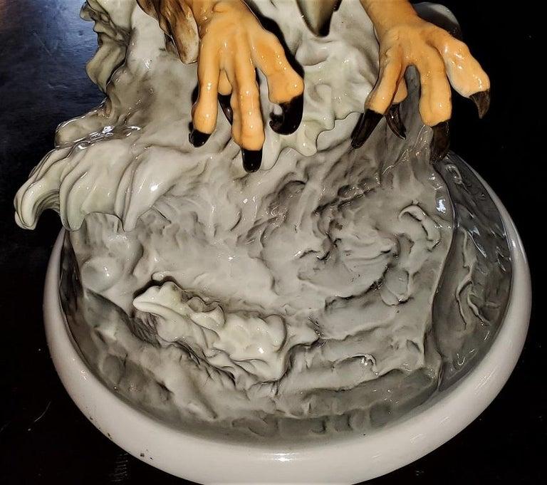 20C Selb German Porcelain Pair of Golden Eagles Sculpture For Sale 6