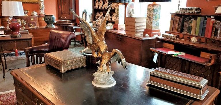 20C Selb German Porcelain Pair of Golden Eagles Sculpture For Sale 9