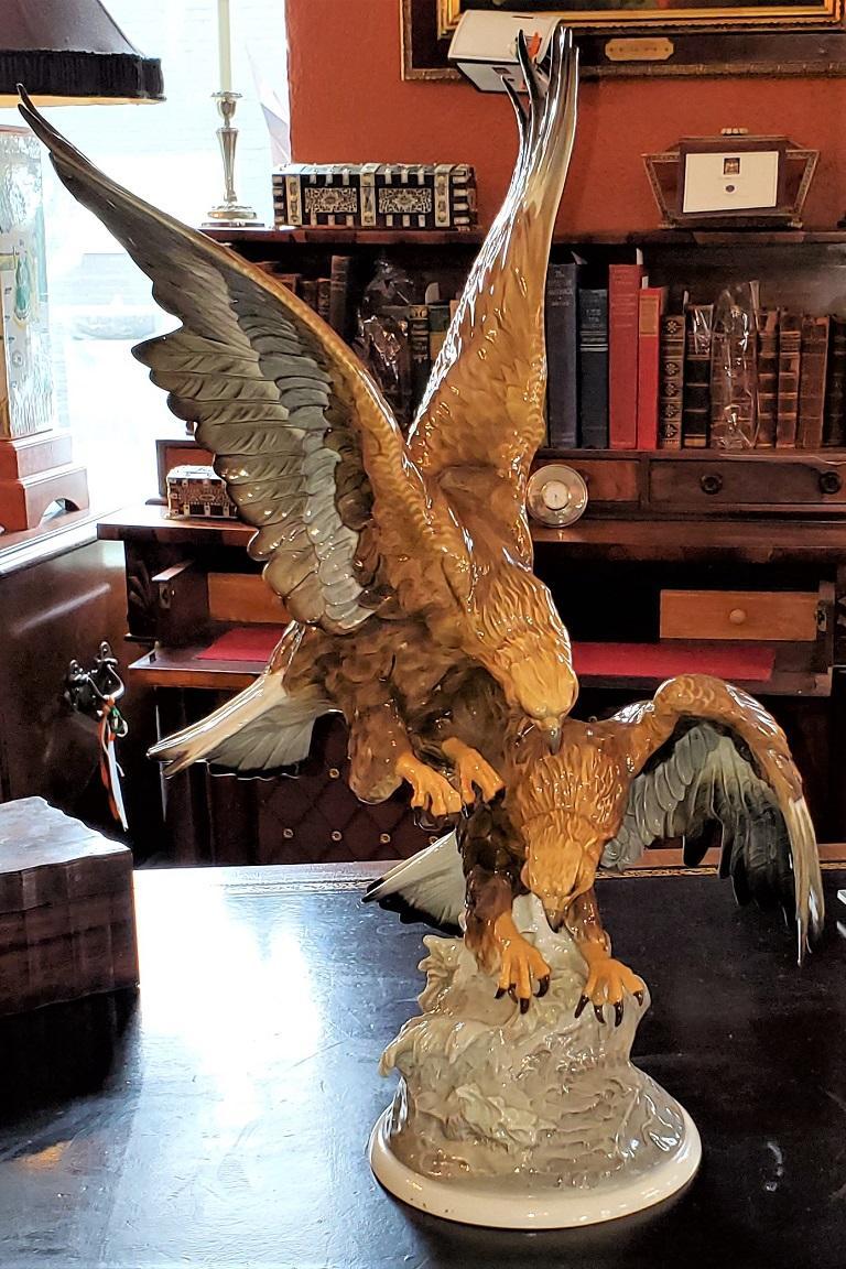 Black Forest 20C Selb German Porcelain Pair of Golden Eagles Sculpture For Sale