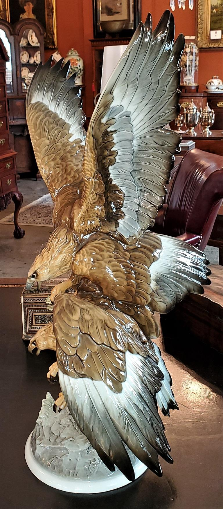 20C Selb German Porcelain Pair of Golden Eagles Sculpture In Excellent Condition For Sale In Dallas, TX