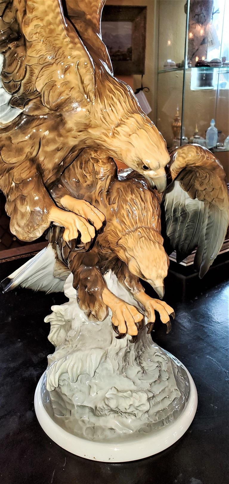 20C Selb German Porcelain Pair of Golden Eagles Sculpture For Sale 3