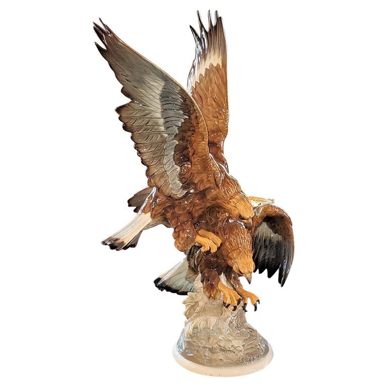 20C Selb German Porcelain Pair of Golden Eagles Sculpture For Sale