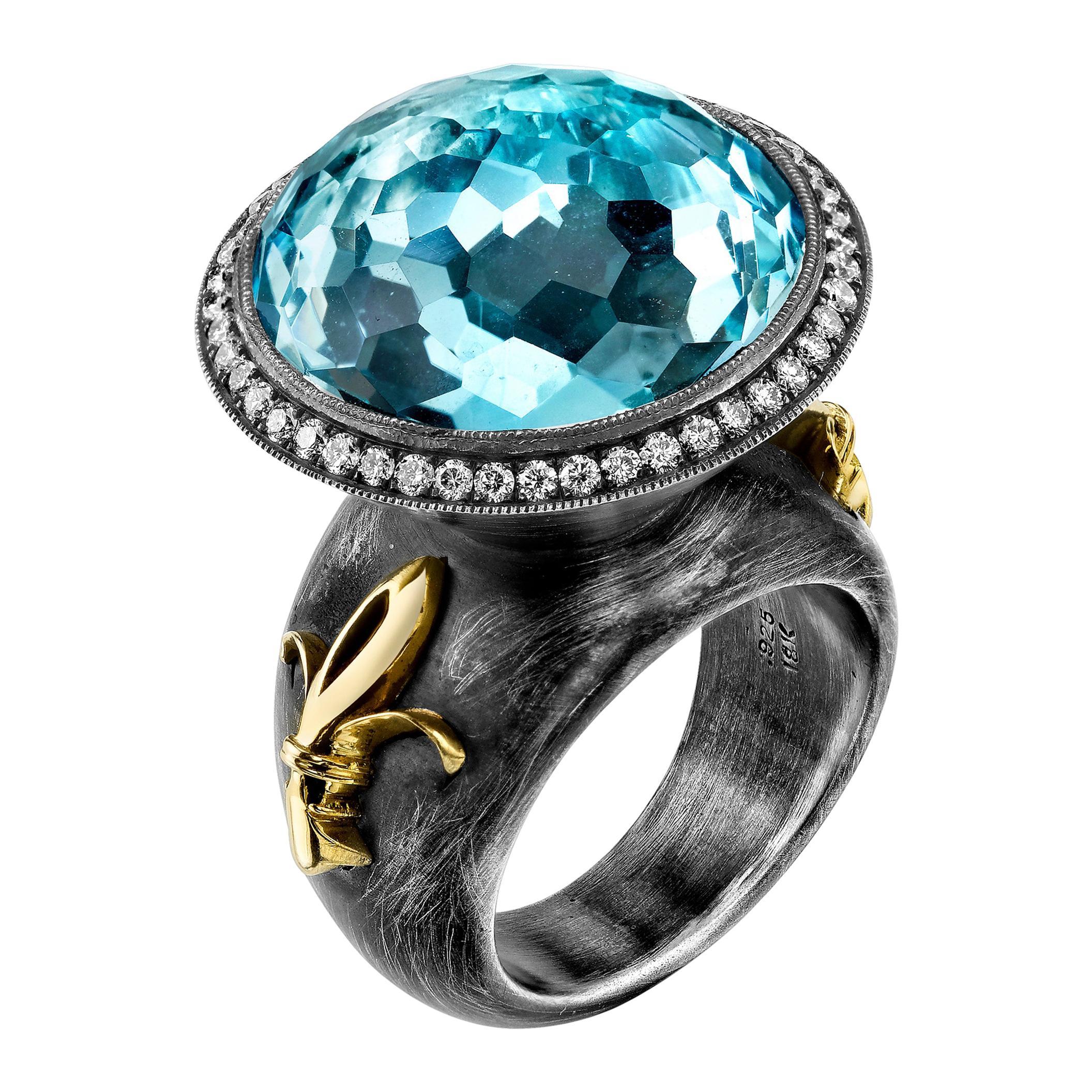 20ct Checkerboard Cut Blue Topaz Fleur De Lis Organic Silver and 18KY Ring