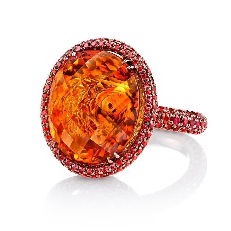 Art Deco 20ct+ Mandarin Orange Citrine, 5.81ct Orange Sapphires, 18RG Fashion Ring For Sale