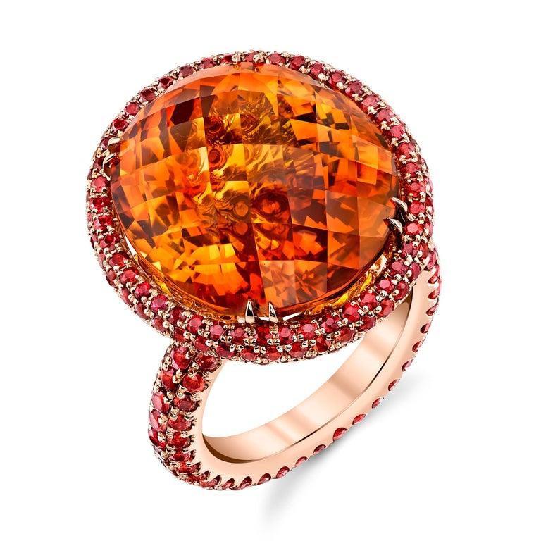 Oval Cut 20ct+ Mandarin Orange Citrine, 5.81ct Orange Sapphires, 18RG Fashion Ring For Sale