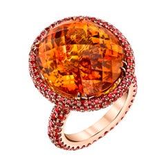 20ct+ Mandarin Orange Citrine, 5.81ct Orange Sapphires, 18RG Fashion Ring