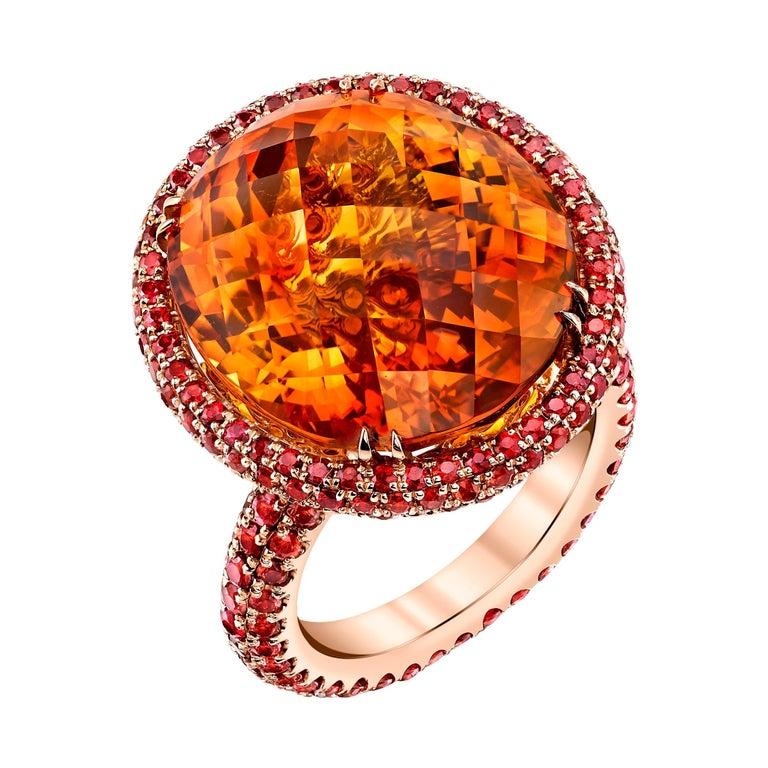 20ct+ Mandarin Orange Citrine, 5.81ct Orange Sapphires, 18RG Fashion Ring For Sale