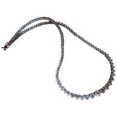 20 Carat Natural Round Diamonds Classic Riviera Tennis Necklace Eternity 14kt