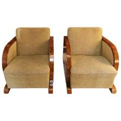 20h Century Art Deco Pair Austrian Walnut Armchairs