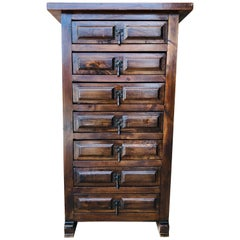 20th Century Spanish Carved Walnut Tuscan Seven Drawers Siffonier