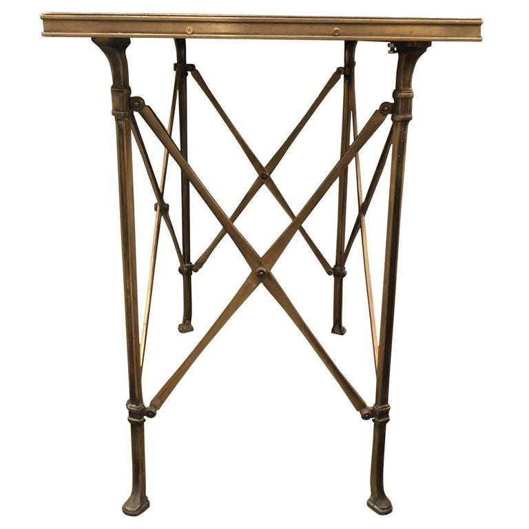 Directoire 20h Century Campaign Style Side Table with Mirrored Top For Sale
