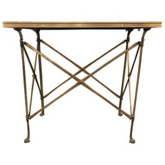 20h Century Campaign Style Side Table with Mirrored Top