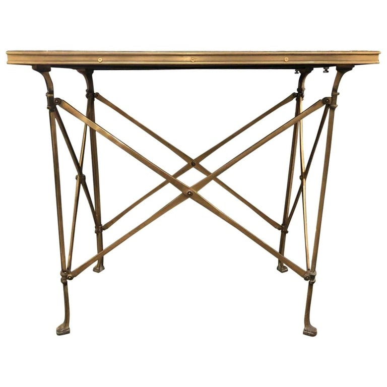 20h Century Campaign Style Side Table with Mirrored Top For Sale