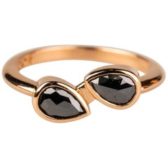 20 Karat Rose Gold Double Pear Shaped Black Diamond Ring