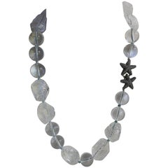 20mm & Carved Rock Crystal Gemstone Necklace 925 Oxidized Silver Exclusice Clasp