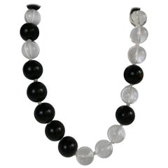 20mm Dark Wood and Rock Crystal Gemstone Necklace
