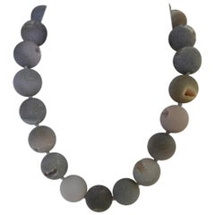 20mm Grey Druzy Agate Quartz 925 Sterling Silver Gemstone Necklace