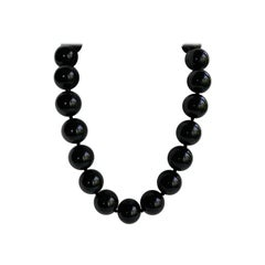 20mm Black Onyx 925 Sterling Silver Gemstone Necklace