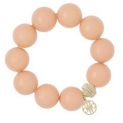 20mm Reconstituted Peach Coral Stretch Bracelet
