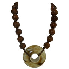20MM Wood Horn Doughnut Necklaces