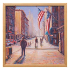 """20th and Broadway"" Oil on Canvas Cityscape by Sandra Rubel"