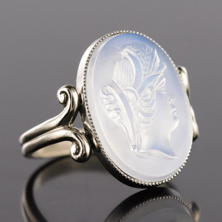 20th Antique Moonstone Cameo White Gold Ring For Sale 5