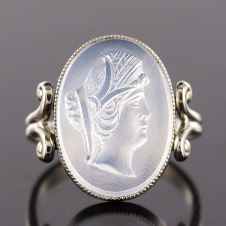 20th Antique Moonstone Cameo White Gold Ring For Sale 6