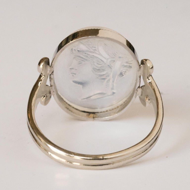 20th Antique Moonstone Cameo White Gold Ring For Sale 7