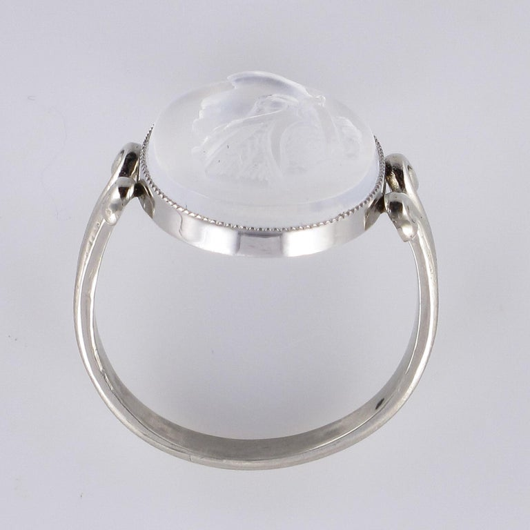 20th Antique Moonstone Cameo White Gold Ring For Sale 8