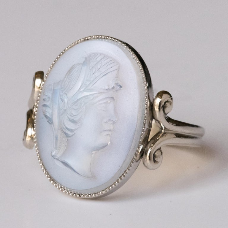 Romantic 20th Antique Moonstone Cameo White Gold Ring For Sale