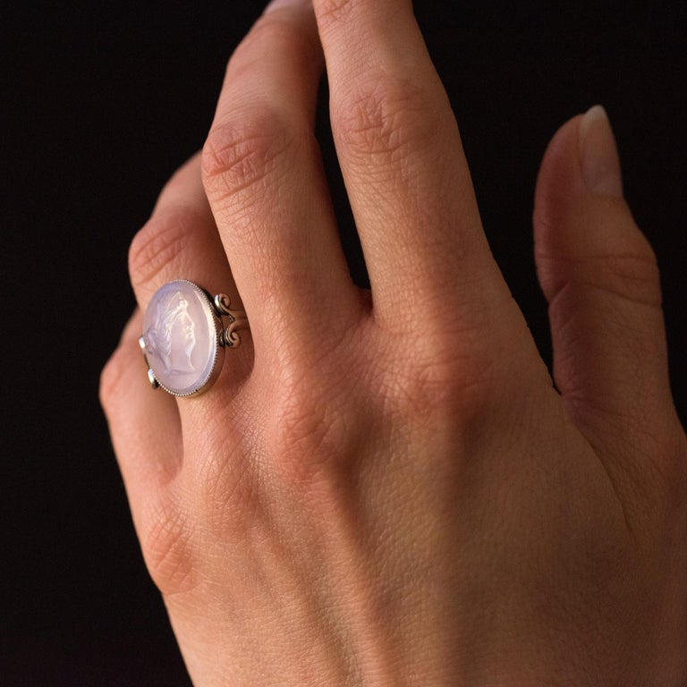 20th Antique Moonstone Cameo White Gold Ring For Sale 1