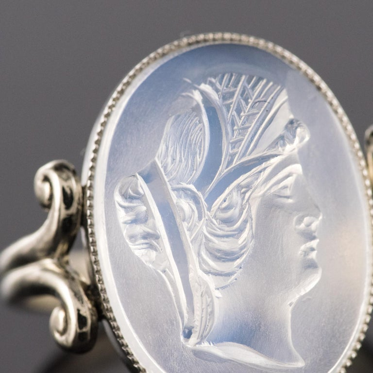 20th Antique Moonstone Cameo White Gold Ring For Sale 2