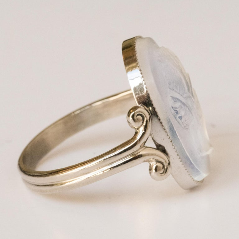 20th Antique Moonstone Cameo White Gold Ring For Sale 3