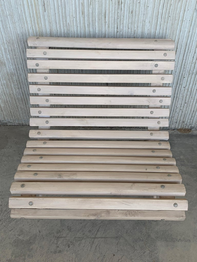 20th Century Antique White Garden Bench With Wood Slabs