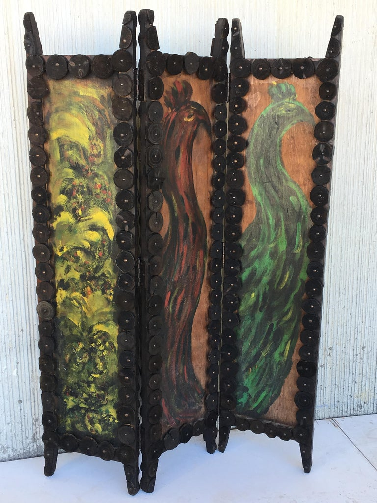 20th Century Arts And Crafts Folding Screen And Hand