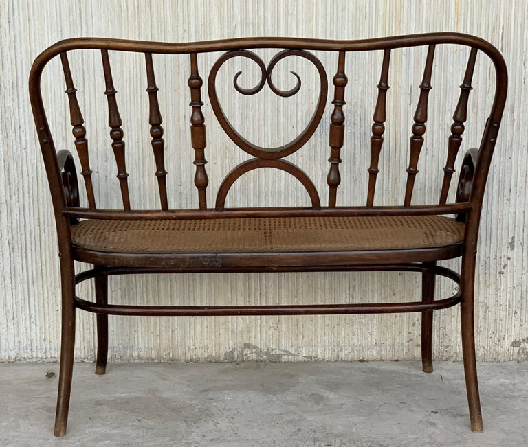 Spanish 20th Century Bentwood Sofa in the Thonet Style, circa 1925, Caned Seat For Sale