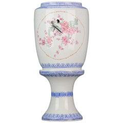 20th Birds Jingdezhen PRoC Eggshell Porcelain Lamp Lantern Chinese Marked