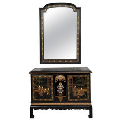 Black Lacquer & Hand Painted Open Altar Table or Sideboard with Mirror