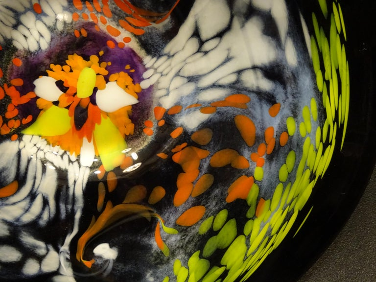 Cold-Painted Black Large French Blown Glass Dish, Signed, Yellow, Orange, Blue, White For Sale