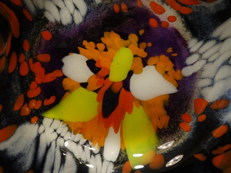 Late 20th Century Black Large French Blown Glass Dish, Signed, Yellow, Orange, Blue, White For Sale