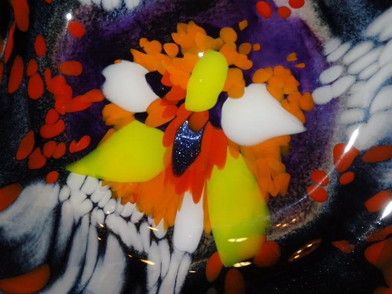 Black Large French Blown Glass Dish, Signed, Yellow, Orange, Blue, White For Sale 1