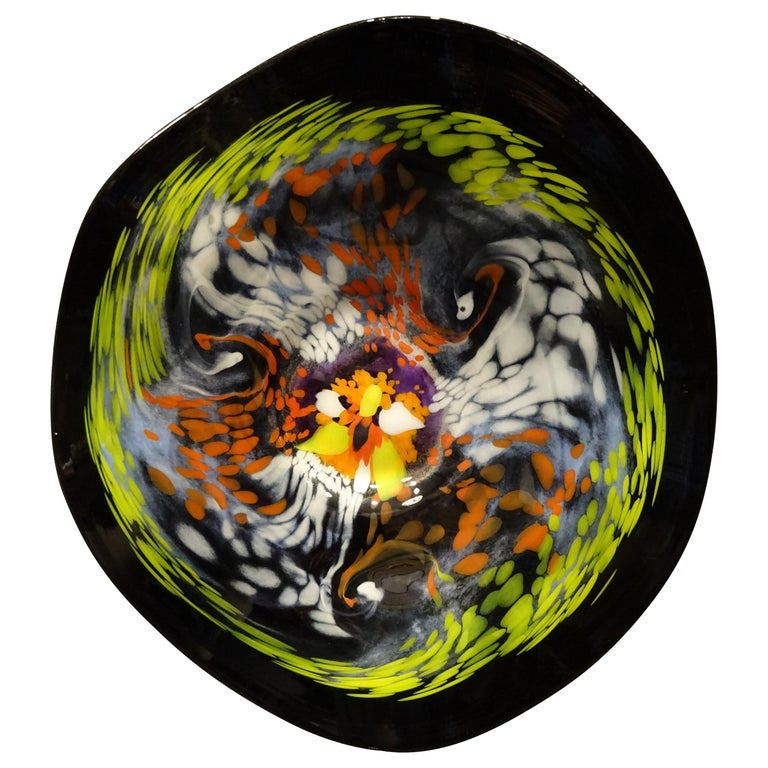 Black Large French Blown Glass Dish, Signed, Yellow, Orange, Blue, White For Sale
