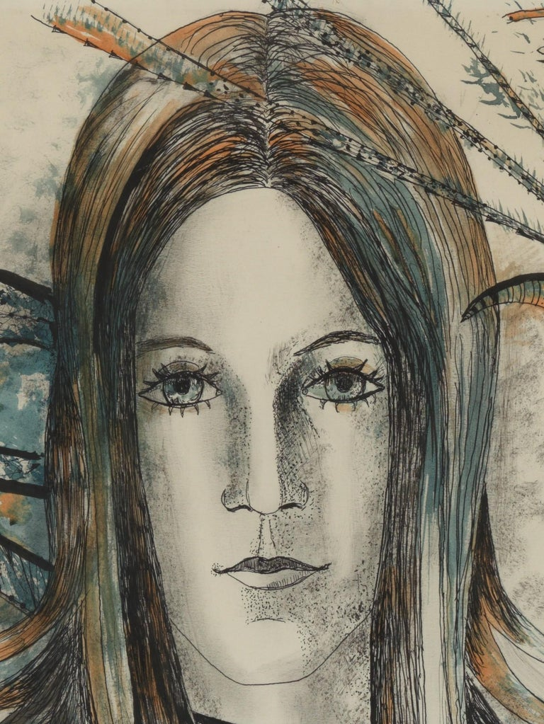 Belgian 20th Century, Acarin Marguerite, Self Portrait, Drawing on Paper, Framed For Sale