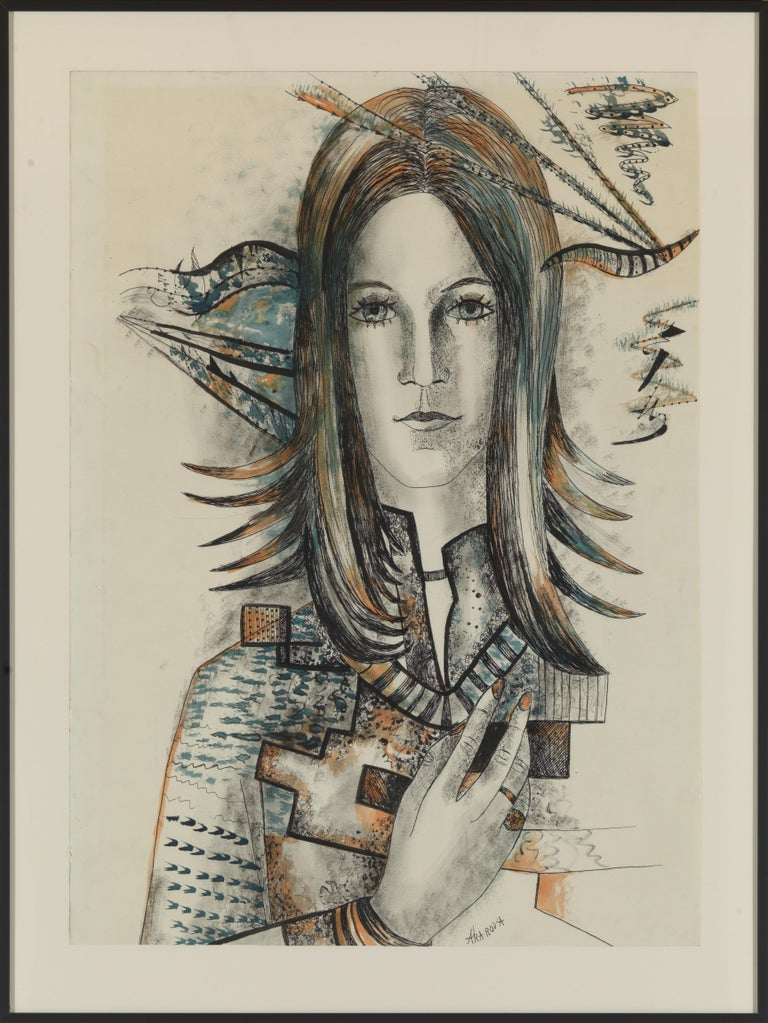 20th Century, Acarin Marguerite, Self Portrait, Drawing on Paper, Framed In Good Condition For Sale In Leuven , BE