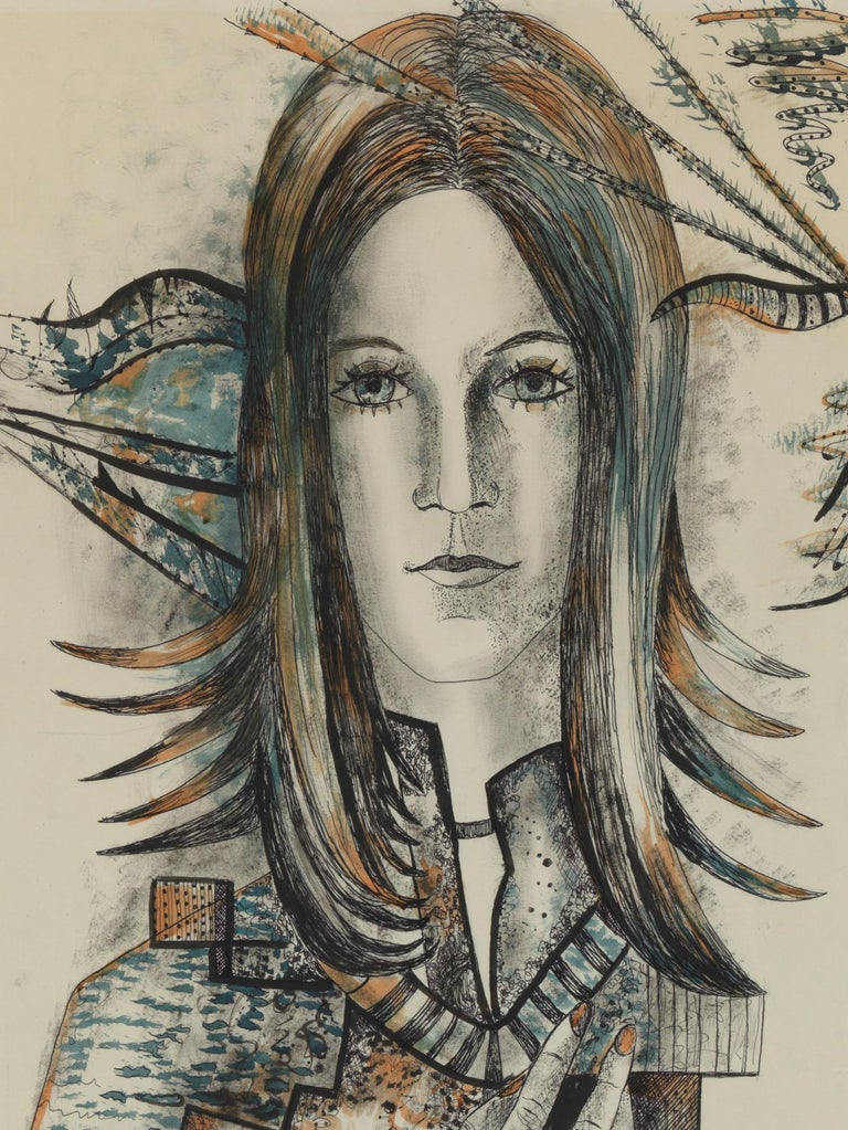 20th Century, Acarin Marguerite, Self Portrait, Drawing on Paper, Framed For Sale 1